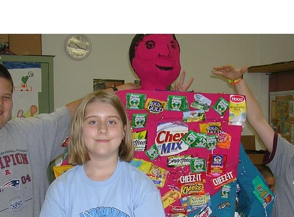Students with junk food monster