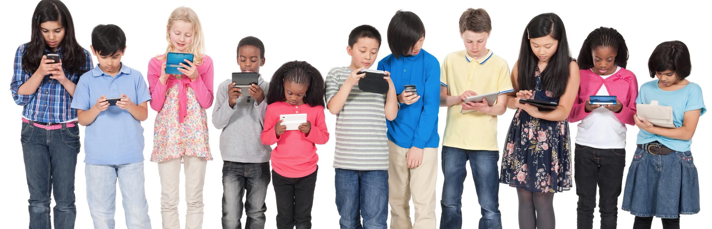 Elementary students on media